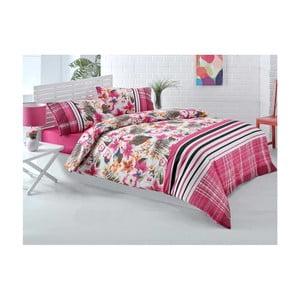 Lenjerie de pat cu cearșaf Ipek Roses, 200 x 220 cm