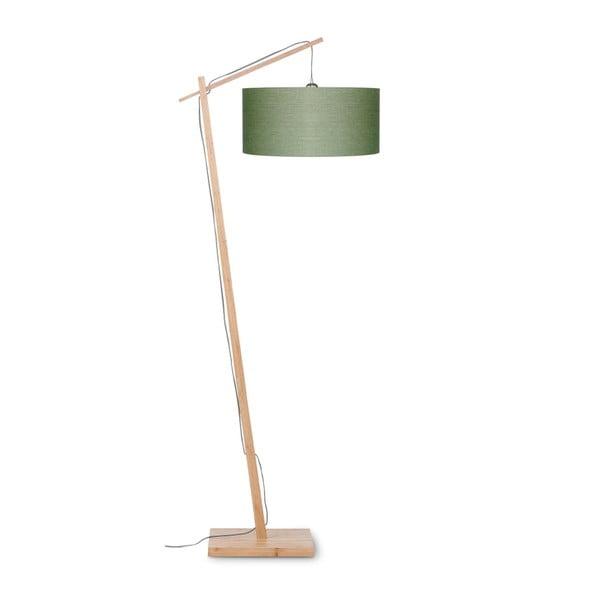 Stojací lampa se zeleným stínidlem a konstrukcí z bambusu Good&Mojo Andes
