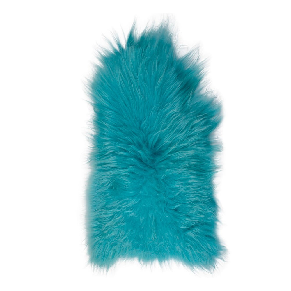 Modrá ovčí kožešina s dlouhým chlupem, 90 x 60 cm