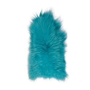 Blană de oaie cu fir lung, 110 x 60 cm, albastru