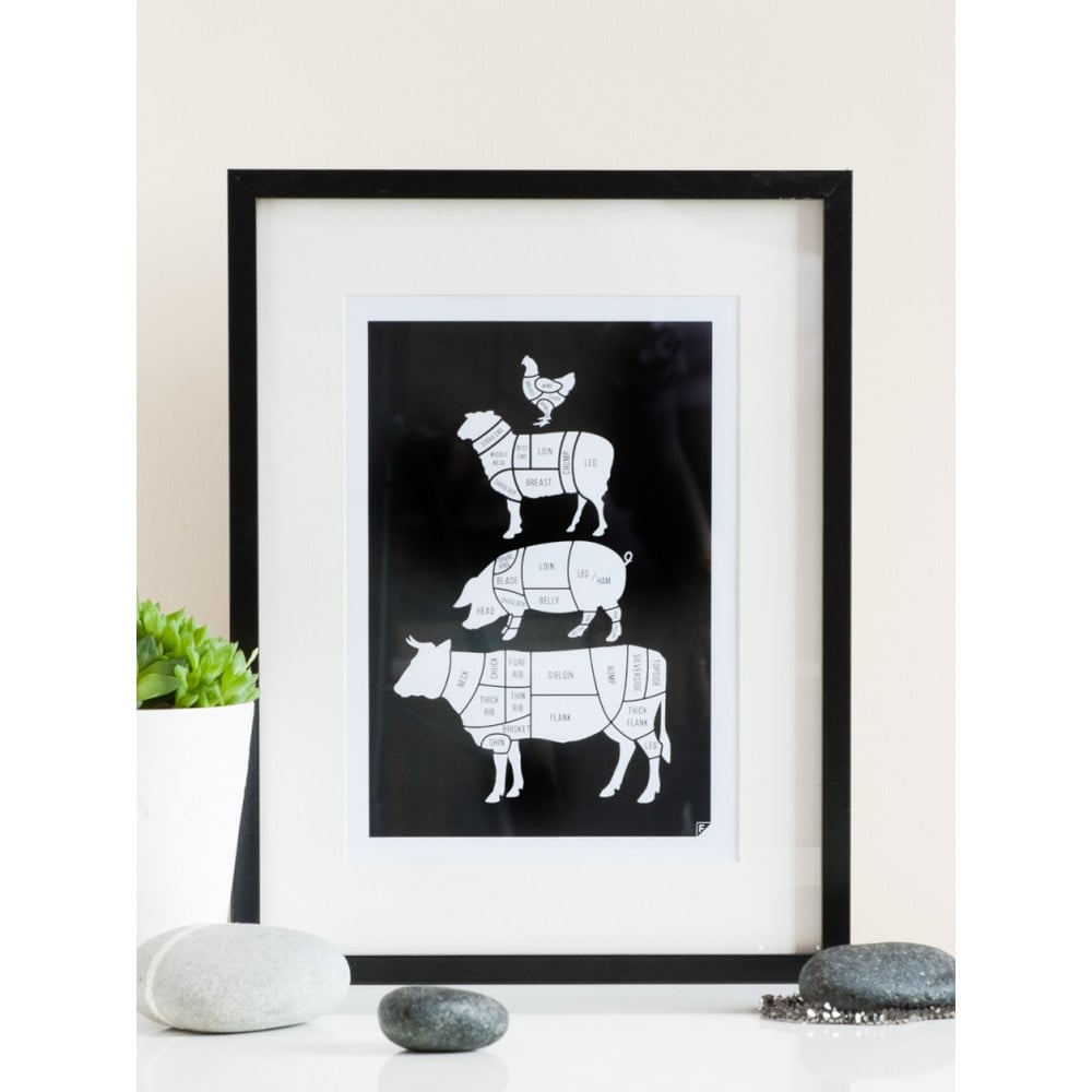 poster follygraph meat cuts black 40 x 50 cm bonami. Black Bedroom Furniture Sets. Home Design Ideas