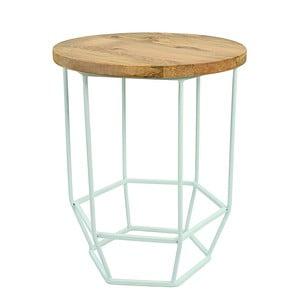 Mentolově zelený stolek se snímatelnou deskou z mangového dřeva HF Living Hexa Mint mini