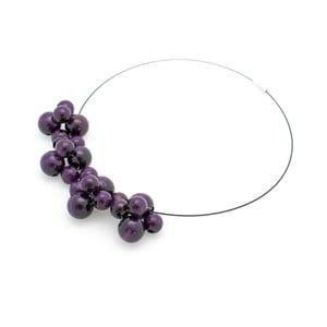 Fialový dřevěný náhrdelník Ko–ra–le Bubbles