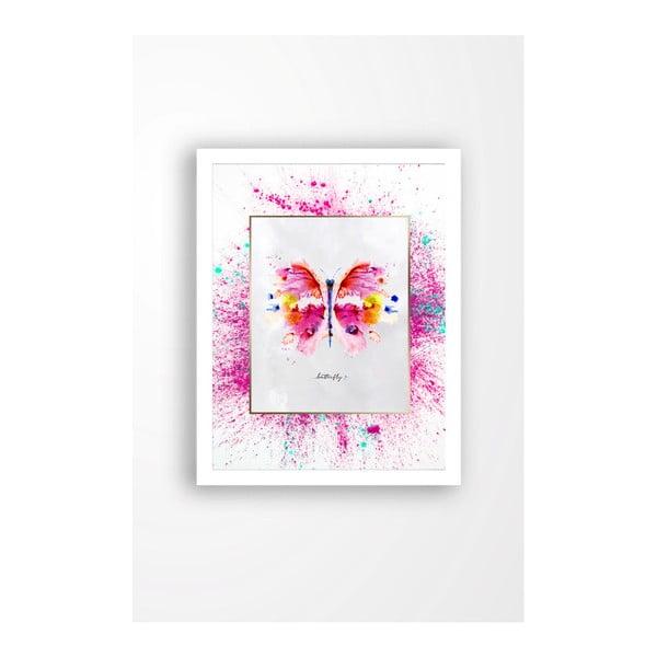 Tablou pe pânză în ramă albă Tablo Center Butterfly, 29 x 24 cm