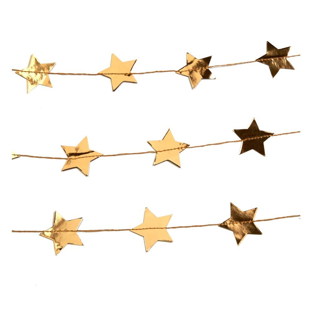 Závěsná girlanda ve zlaté barvě Neviti Dazzling Christmas Star, délka3m
