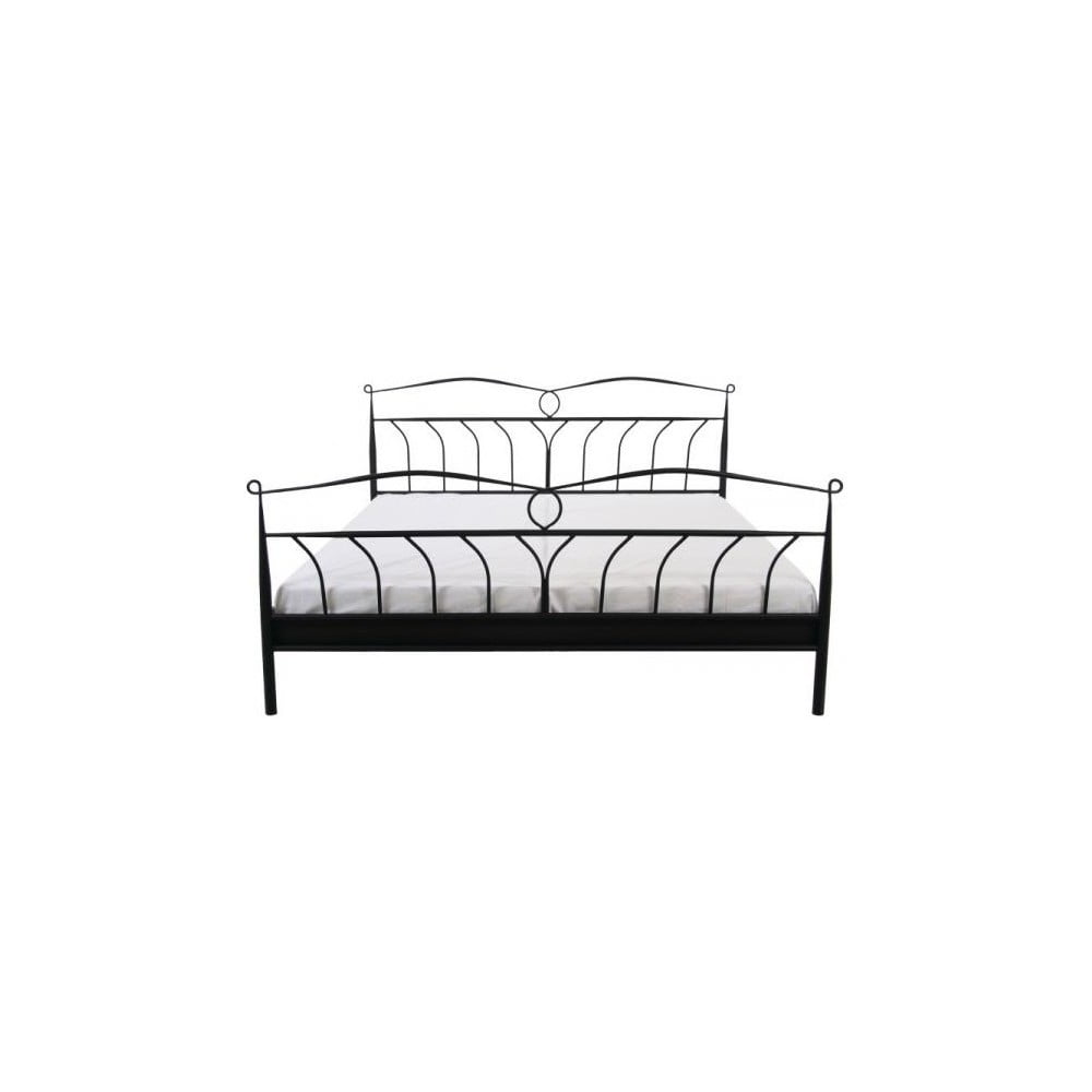 Černý rám postele Actona Line Metall, 140x200cm