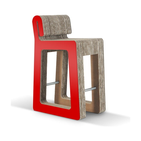 Barová kartonová židle Hook Stool Red