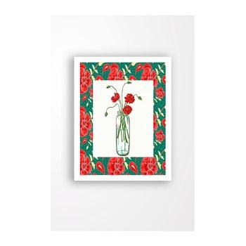 Tablou pe pânză în ramă albă Tablo Center Red Flowers, 29 x 24 cm de la Tablo Center
