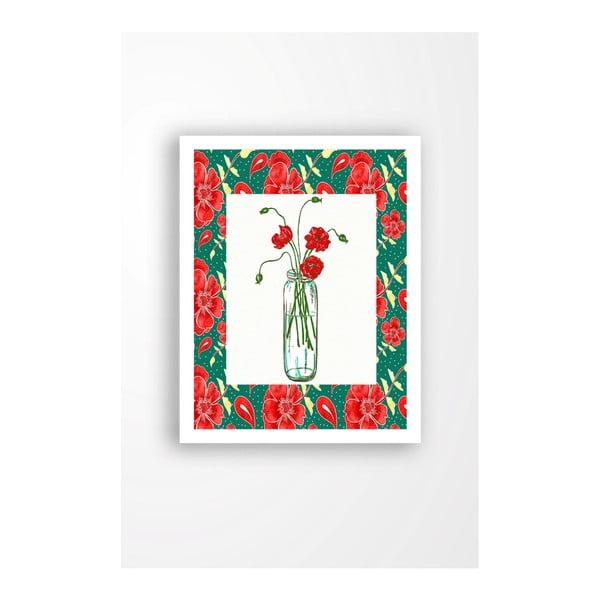 Tablou pe pânză în ramă albă Tablo Center Red Flowers, 29 x 24 cm