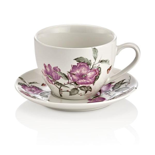 Zestaw 6 porcelanowych filiżanek z podstawką Shine Elegance