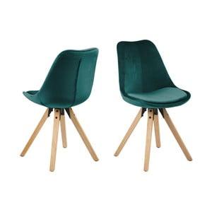 Sada 2 zelených jídelních židlí Actona Damia Velvet