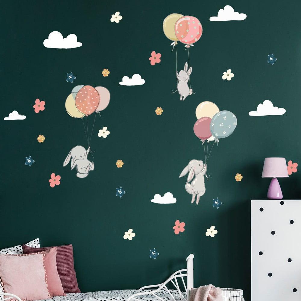 Dětské samolepky na zeď Ambiance Flying Rabbits