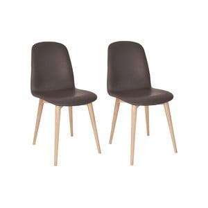 Sada 2 hnědých jídelních židlí s nohami z masivního dubového dřeva WOOD AND VISION Basic