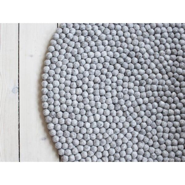Piaskowobrązowy wełniany dywan kulkowy Wooldot Ball Rugs, ⌀ 90 cm
