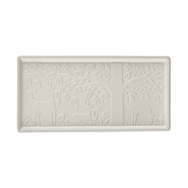 Tavă servire din ceramică Mason Cash In the Forest, 30 x 15 cm, alb
