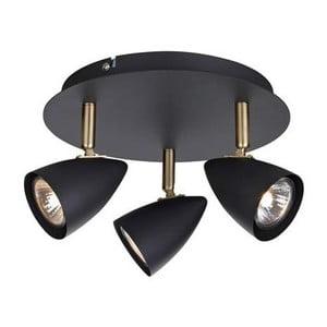 Černé stropní svítidlo s detaily v mosazné barvě Markslöjd Ciro Tres