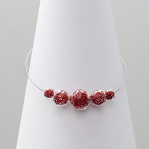 Červený skleněný náhrdelník ko–ra–le Wired 6