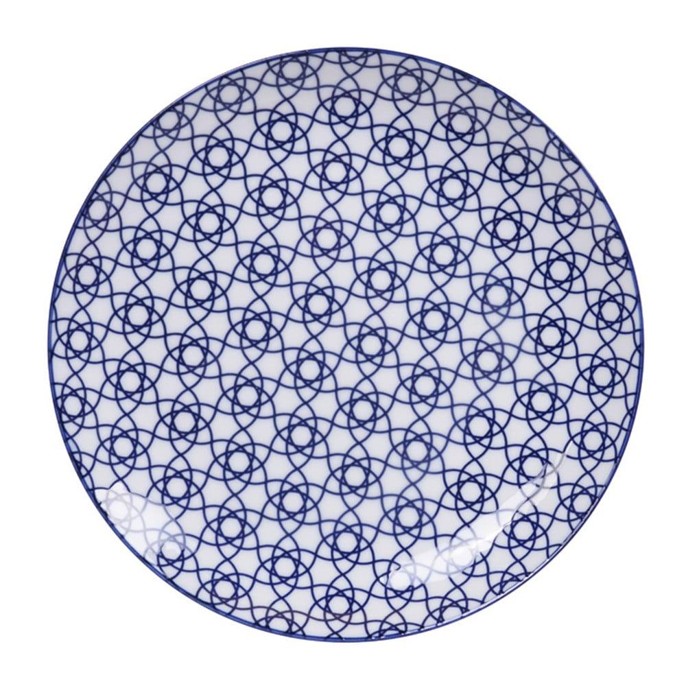 Modrý porcelánový talíř Tokyo Design Studio Stripe, ø 25,7 cm Tokyo Design Studio