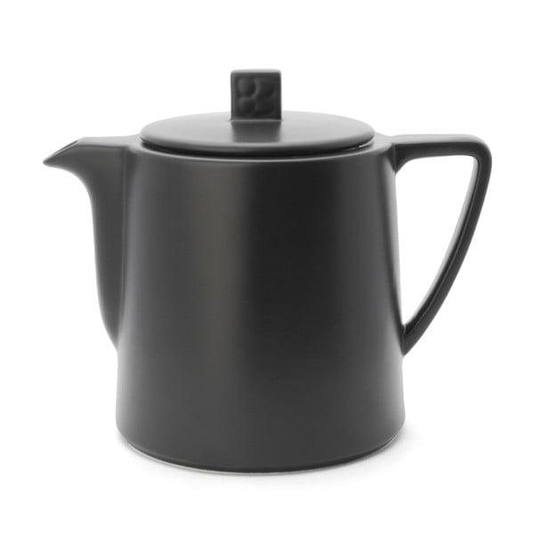 Černá keramická konvice se sítkem na sypaný čaj Bredemeijer Lund, 1 l