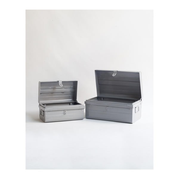 Sada 2 šedých úložných boxů Surdic Trunks