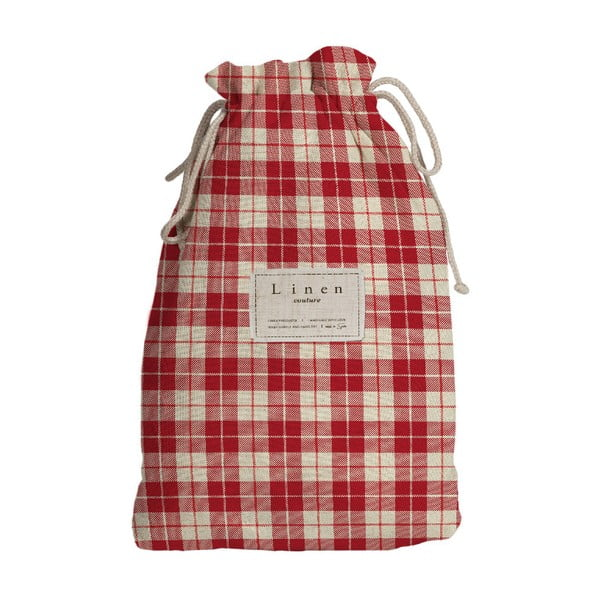 Worek na akcesoria podróżnicze z domieszką Inu Linen Couture Red Square, dł. 44 cm
