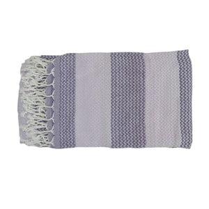 Prosop țesut manual din bumbac premium Alya, 100 x 80 cm, violet - gri