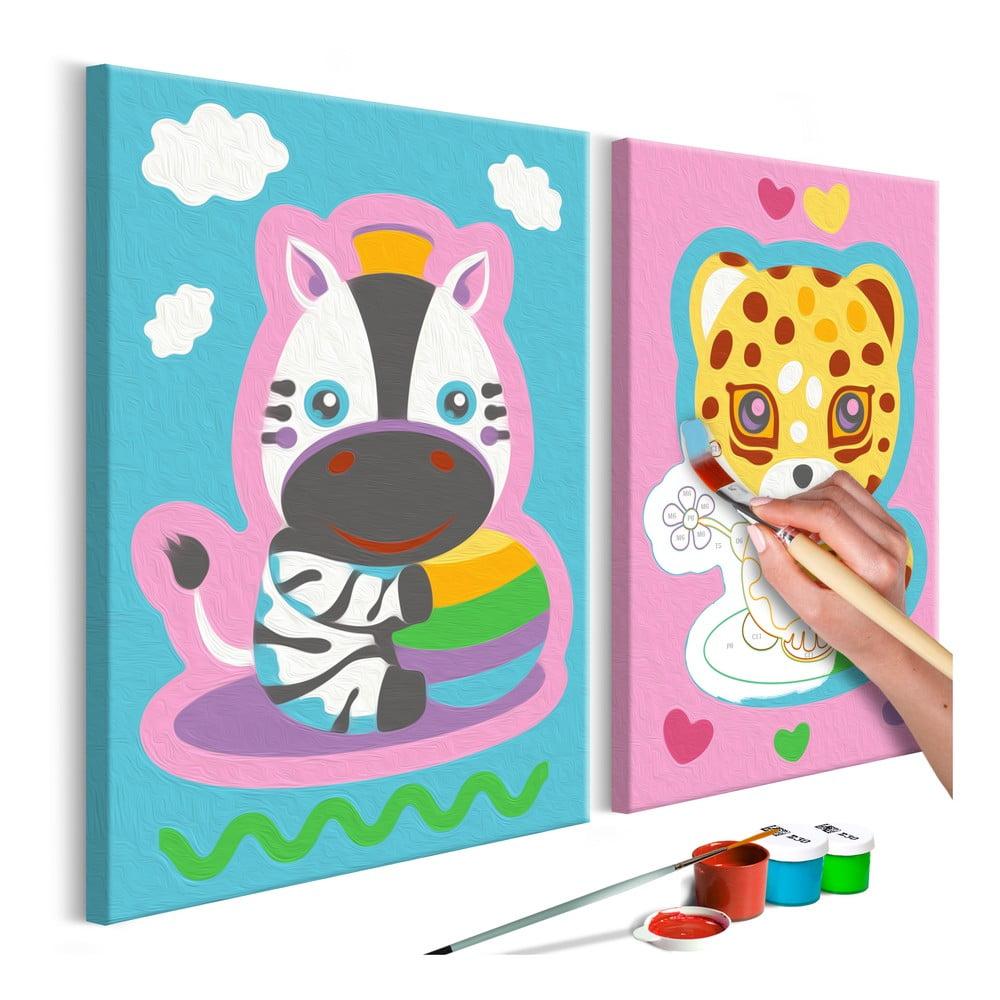 DIY set na tvorbu vlastního dvoudílného obrazu na plátně Artgeist Lovely Animals, 33x23 cm