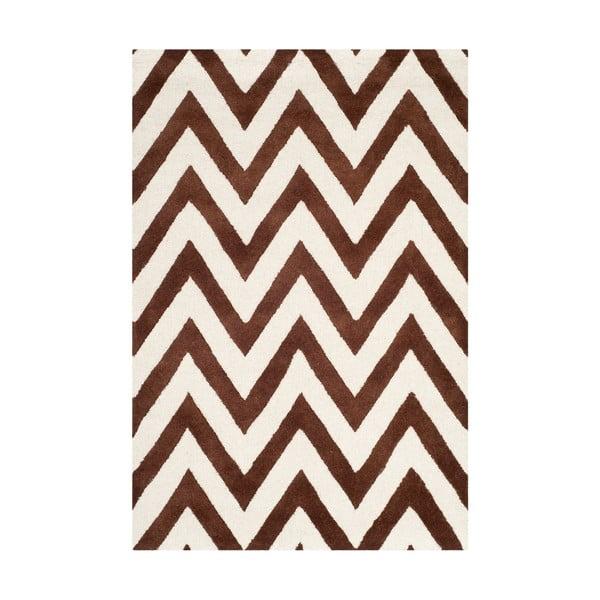 Hnědý vlněný koberec Safavieh Stella, 182 x 121 cm
