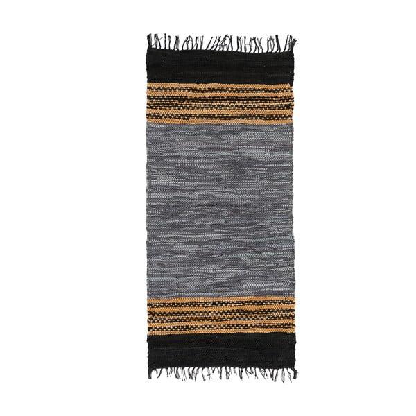 Modrý kožený koberec Simla, 140x70cm