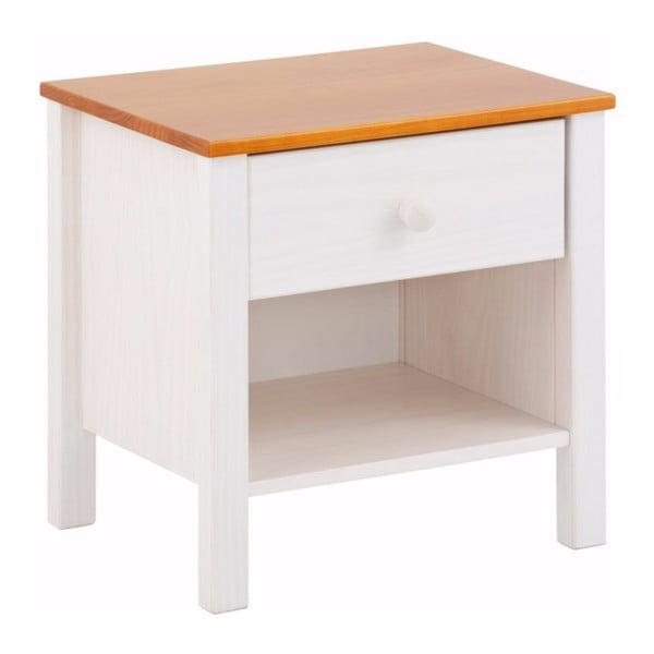 Biely nočný stolík z borovicového dreva Støraa Pauline