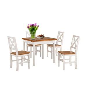 Set bílého jídelního stolu a 4 židlí z masivního dřeva Støraa  Marlon