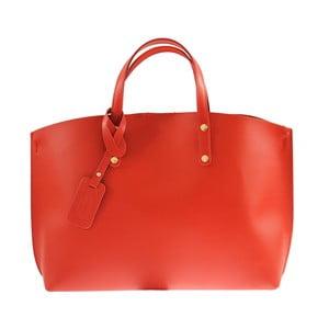 Červená kožená kabelka City