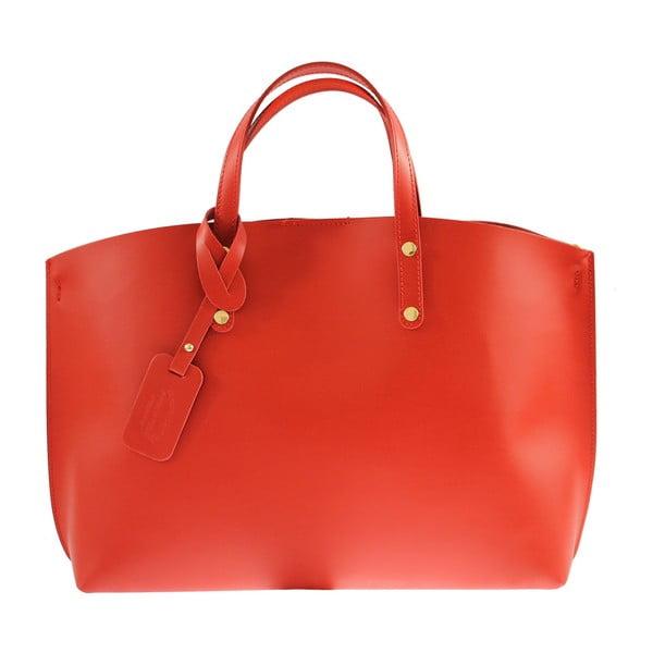 Červená kožená kabelka Chicca Borse City