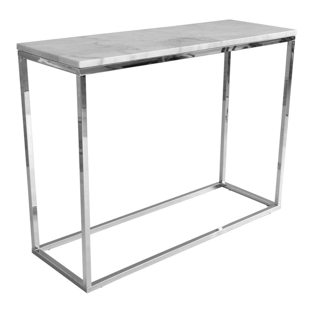 Bílý mramorový konzolový stolek s chromovaným podnožím RGE Accent, šířka100cm