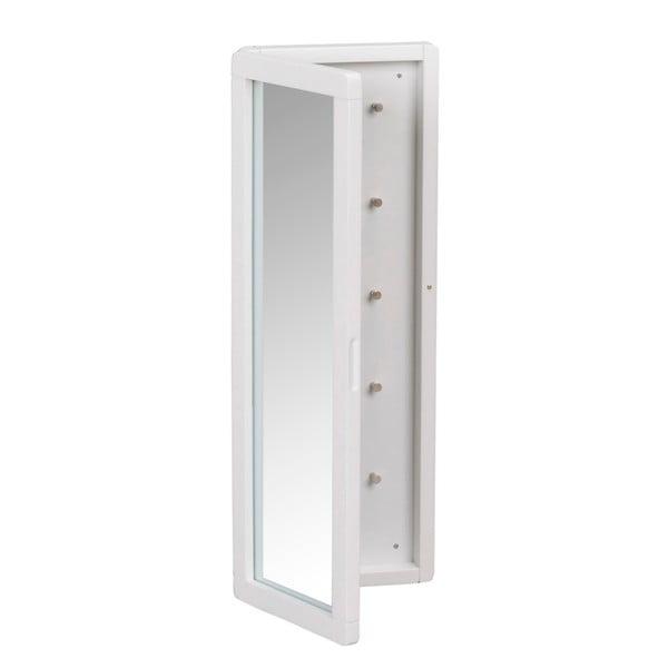 Bílá dubová zrcadlová skříňka na klíče Rowico Gorgona