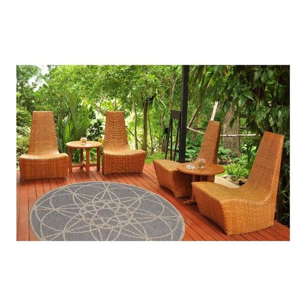 Šedý vysoce odolný koberec vhodný do exteriéru Webtappeti Tondo, ⌀ 194 cm