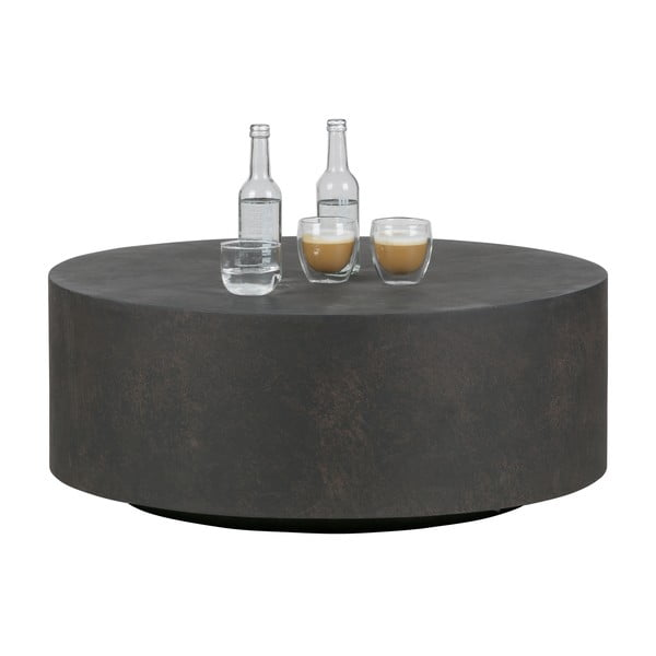 Dean sötétbarna dohányzóasztal agyagból, Ø 80 cm - WOOOD