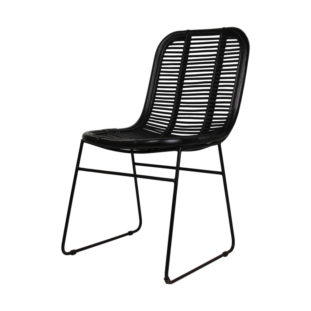 Černá jídelní židle z ratanu HSM Collection Renton