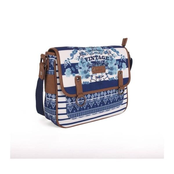 Modro-bílá kabelka Lois, 26 x 21 cm