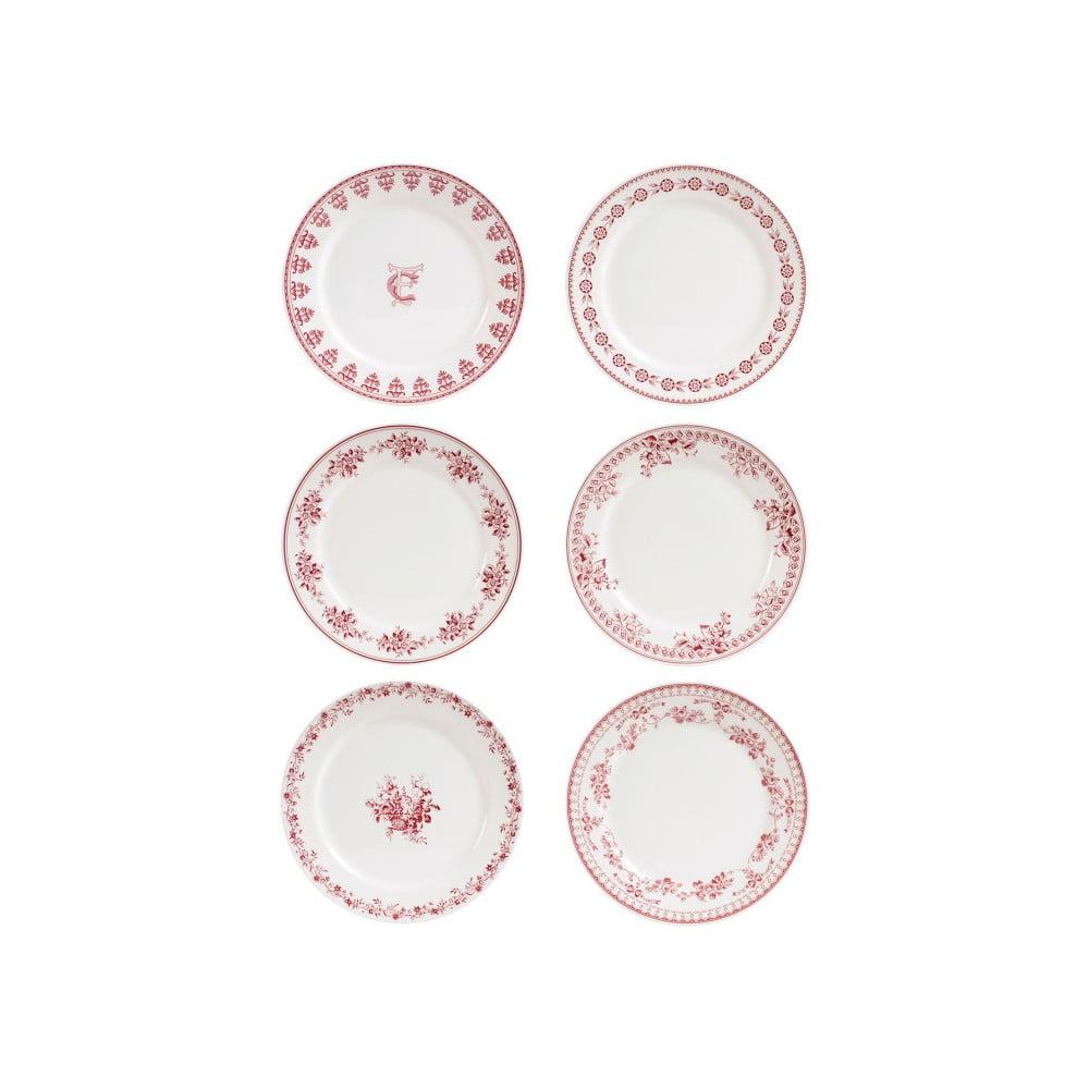 Sada 6 červenobílý dezertních talířů Comptoir de Famille Faustine, 20 cm
