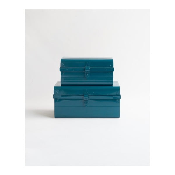 Sada 2 tmavě modrých úložných boxů Surdic Trunks