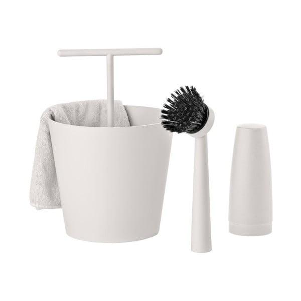 Světle šedý čtyřdílný set na mytí nádobí Zone Bucket
