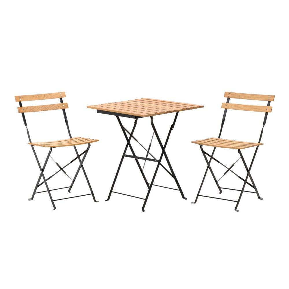 Set 2 světle hnědých zahradních židlí a stolku InArt
