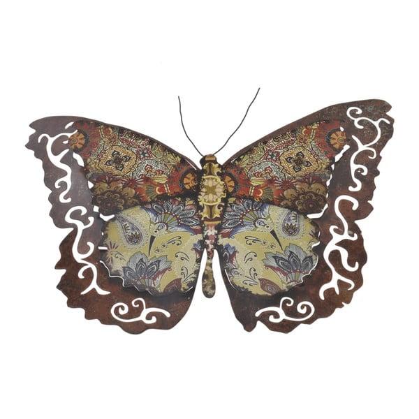 Kovový motýl na zeď, 34 cm, hnědý