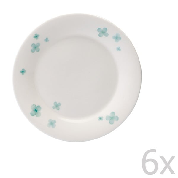 Sada 6 talířů z kostního porcelánu Petal, 15 cm