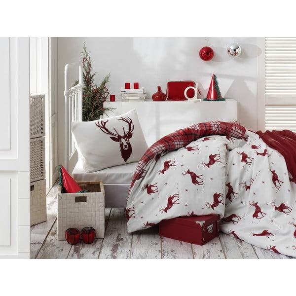 Lenjerie și cearceaf din amestec de bumbac pentru pat de o persoană Eponj Home Geyik Claret Red, 160 x 220 cm