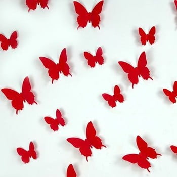 Set 12 autocolante Ambiance Red Butterflies roșu