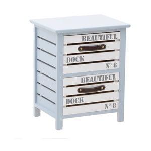 Dulap din lemn cu 2 sertare InArt, 38 x 47 cm, albastru deschis