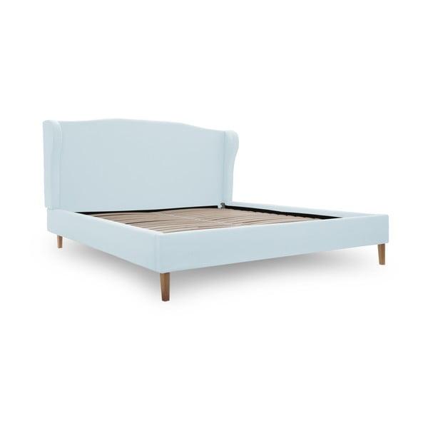 Pastelově modrá postel s přírodními nohami Vivonita Windsor,160x200cm