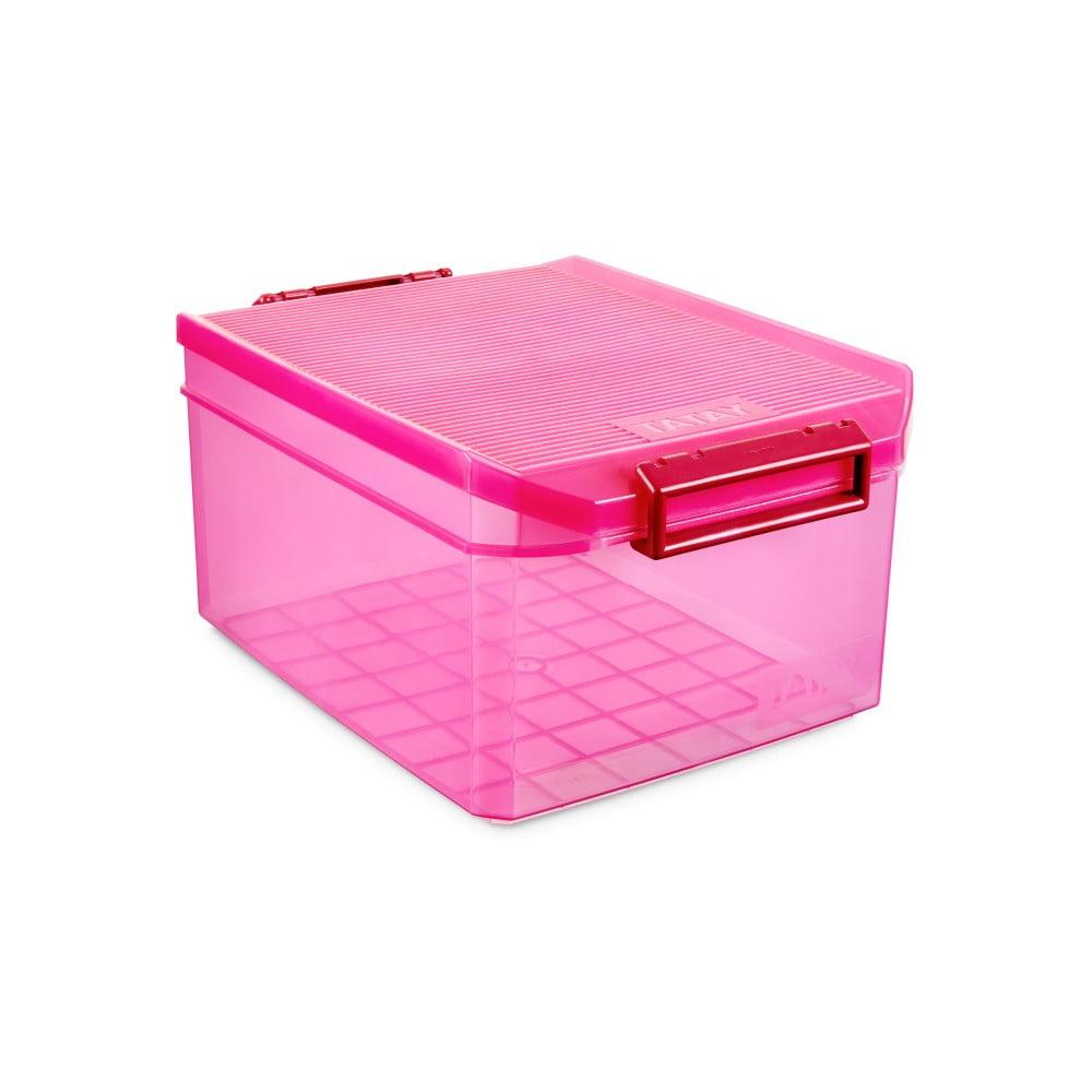 Fuchsiový úložný box s víkem Ta-Tay Storage Box, 14 l